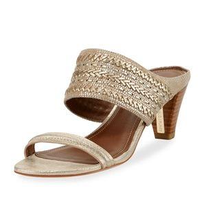 Donald J Pilner | Viv Gold Heeled Dress Sandal